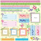 Vector Baby Shower set for Boy and Girl — Stock Vector