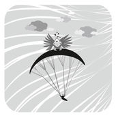 Paraglider with a bird — Stock Photo