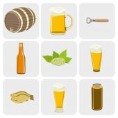 Beer colorful vector icons set — Stock Photo