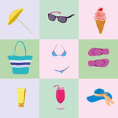 Summer colorful icons set. — Stock Photo
