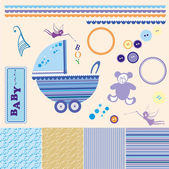 Scrapbook baby boy set. — Stock Photo