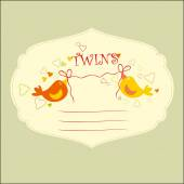 Baby Shower Twins. — Stock Vector