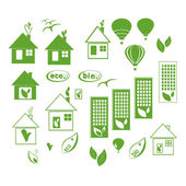 Vector eco icons set on white background. — Stock Vector