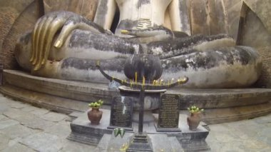 Images Buddha in the ancient church. HD — Stock Video