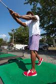 Golf Swing at the Range — Stock Photo