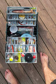 Fishing Tackle Box On a Dock — Stock Photo