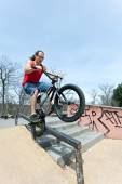 BMX Rider Grinding — Stock Photo