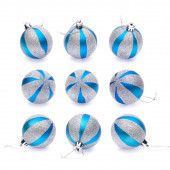 Blue-silver christmas balls on white background — Stock Photo