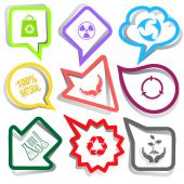 Ecology set. Paper stickers — Stock Vector