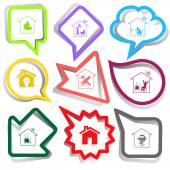 Home set. Paper stickers — Stockvektor