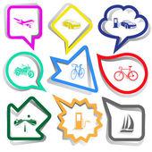 Transport set. Paper stickers — Stock Vector