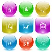 Home set of  buttons. — Stock Vector