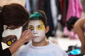 Makeup Artist Paining Clown Face — Stock Photo