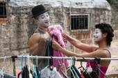 Cirque Clowns Fitting Costumes — Stock Photo