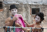 Cirque Clowns Fitting Pink Coat — Stock Photo