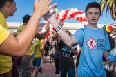 High Five at the End of AIDSwalk — Stock Photo