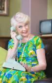 Smiling Woman talking on Phone — Stock Photo