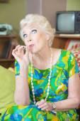 Senior Lady Smoking weed — Stock Photo