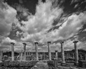 Clouds Over Perga Ruins in Monotone — Stock Photo