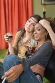 Drunk Women Embracing — Stock Photo