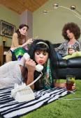 Sulky Lady Holding Phone — Stock Photo