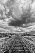Black and White Desert Railroad Scene — Stock Photo