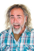 Laughing Man with Long Hair — Stock Photo