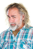 Cringing Bearded man in shirt — Stock Photo