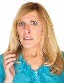 Overwhelmed Blond Woman — Stock Photo