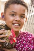 Little Girl With Rooster — Stock Photo