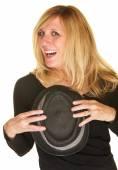 Joyful Singer Holding Hat — Stock Photo