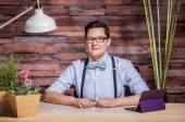Dapper Woman in Hipster Office with Tablet — Stock Photo