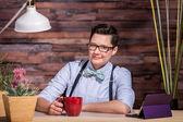 Butch Businesswoman with Coffee Mug — Stock Photo