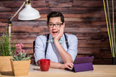 Excited Woman at Desk — Stock Photo