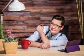 Easygoing Lesbian Working at Desk — Stock Photo