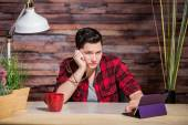 Bored Butch Lady at Desk — Stock Photo