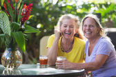 Laughing Friends at Table in Maui — Stock Photo