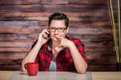 Thinking Office Worker on Phone — Stock Photo