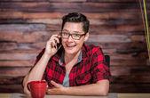 Enthusiastic Woman on Smart Phone — Stock Photo