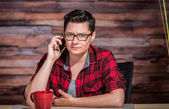 Mad Woman on Phone — Stock Photo
