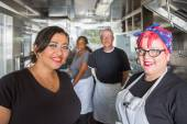 Workers In Food Truck — Stock Photo