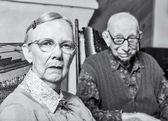 Grumpy woman and man — Stock Photo