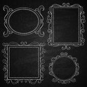 Chalk on board. Set of frames — Stock Vector