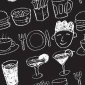 Patrón sin costuras restaurante — Vector de stock