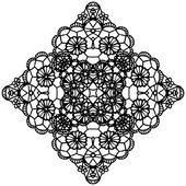 Black crochet doily — Stock Vector