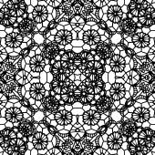 Lace black seamless pattern with flowers — Vector de stock