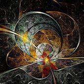 Symmetrical colorful fractal flower, digital logarithm — Stock Photo