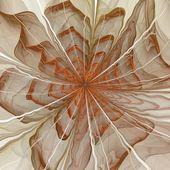 Symetrické oranžové fraktální květina, digitální kresba — Stock fotografie