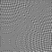 Fractal black line intersecting abstract maze labyrinth — Stock Photo