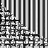 Linea nera frattale labirinto labirinto astratto che si intersecano — Foto Stock